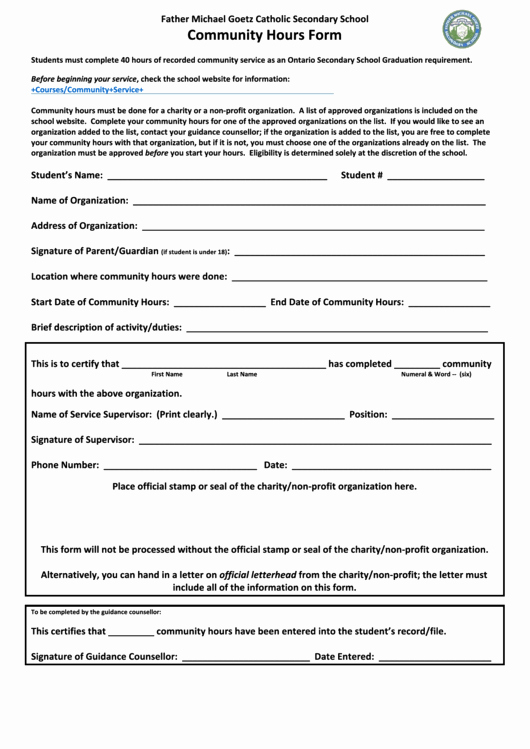 Community Service form Template Pdf Luxury top 19 Munity Service Hours form Templates Free to