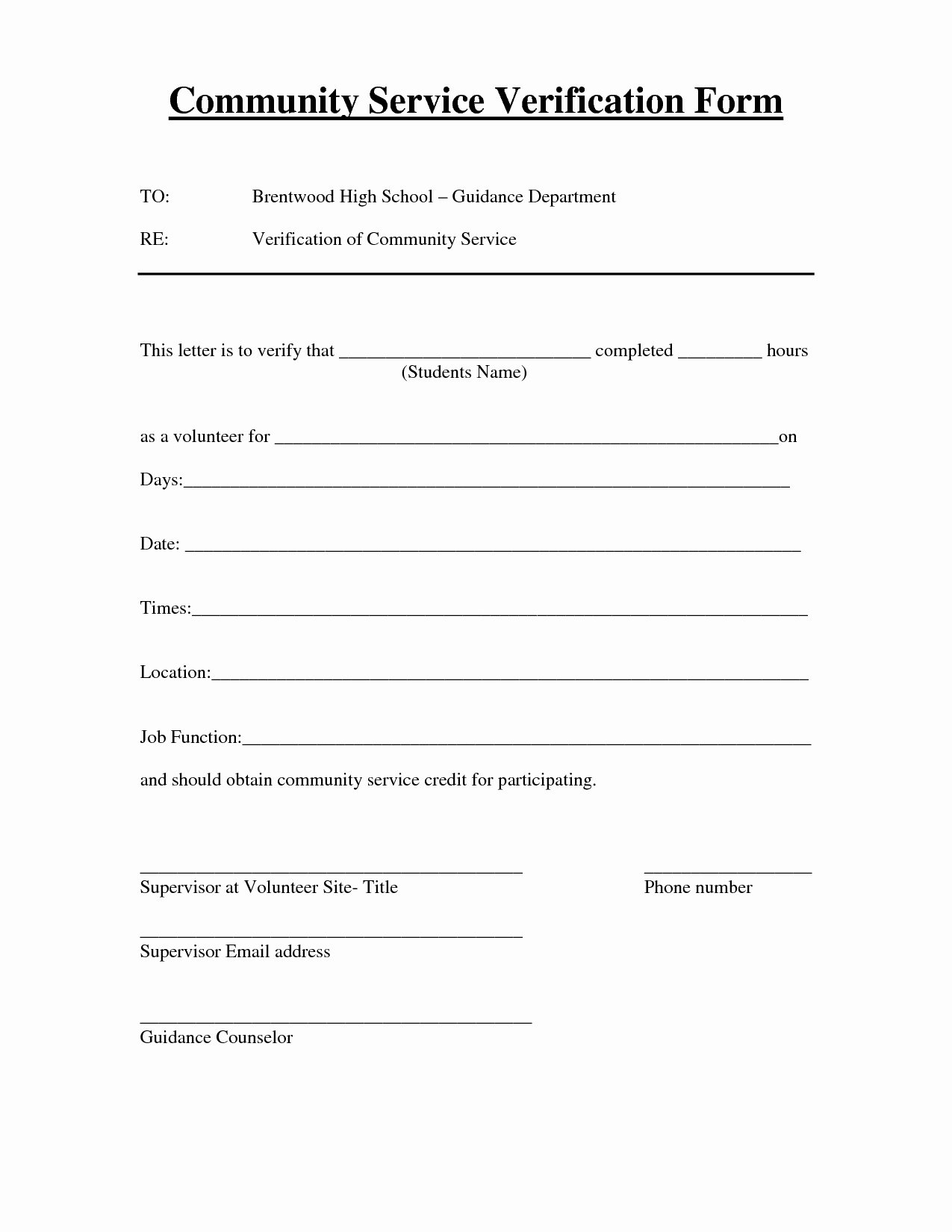 Community Service form Template Pdf New Best S Of Verification Volunteer Hours Letter