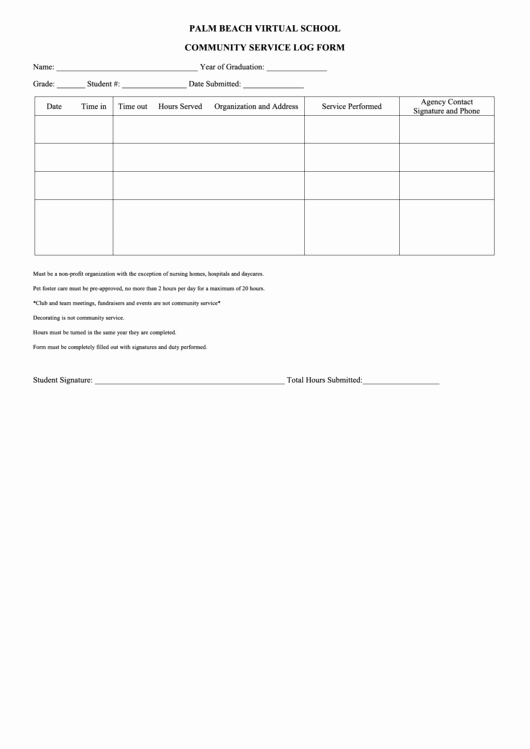 Community Service form Template Unique Munity Service form Printable Pdf
