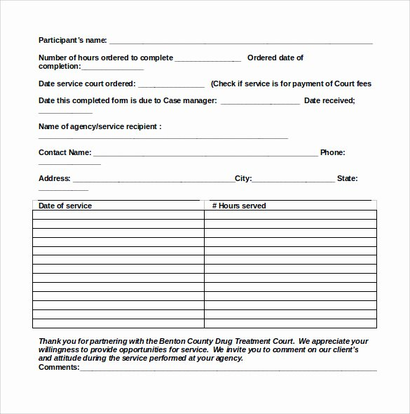 Community Service form Template Unique Sample Service Hour form 13 Download Free Documents In