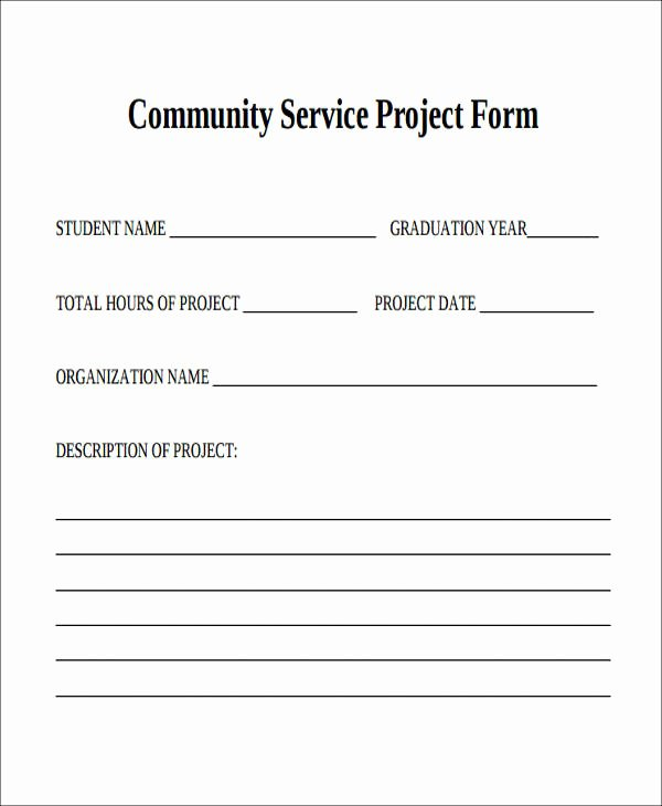 Community Service forms Templates Awesome 39 Service forms In Pdf