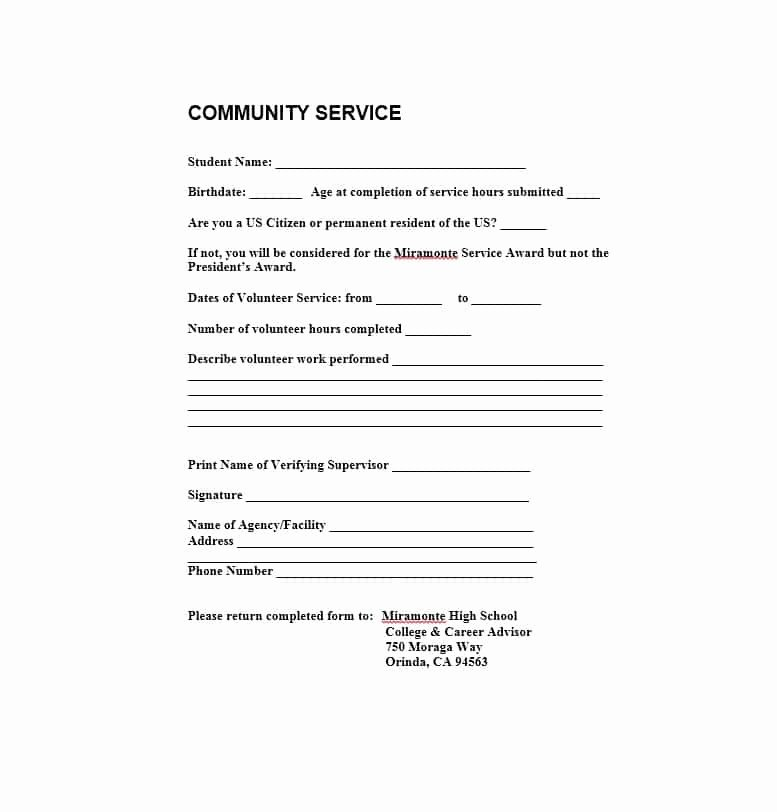 Community Service forms Templates Awesome Munity Service Letter 40 Templates [ Pletion