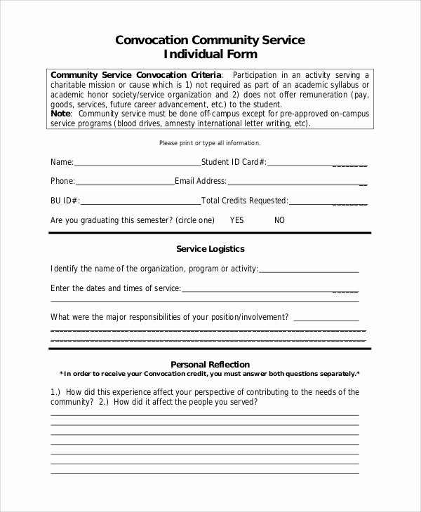 Community Service forms Templates Beautiful Sample Munity Service form 10 Examples In Pdf Word