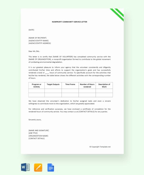 Community Service forms Templates Beautiful Sample Munity Service Letter 25 Download Free
