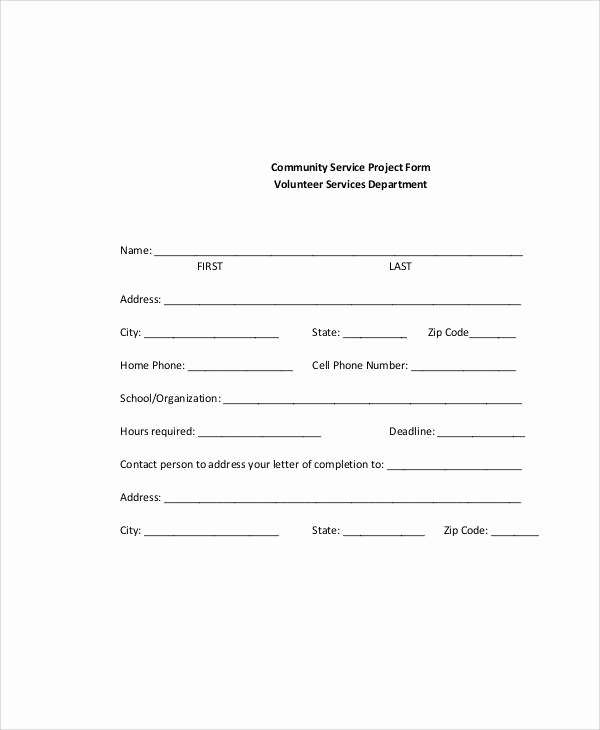 Community Service forms Templates Elegant 42 Sample Service forms