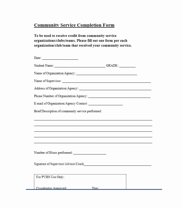 Community Service forms Templates Lovely Munity Service Letter 40 Templates [ Pletion