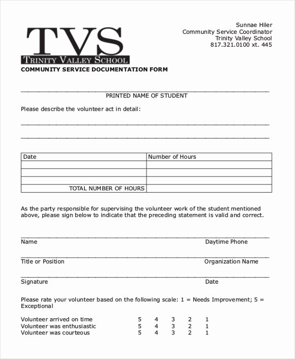 Community Service forms Templates New Free 10 Sample Munity Service forms