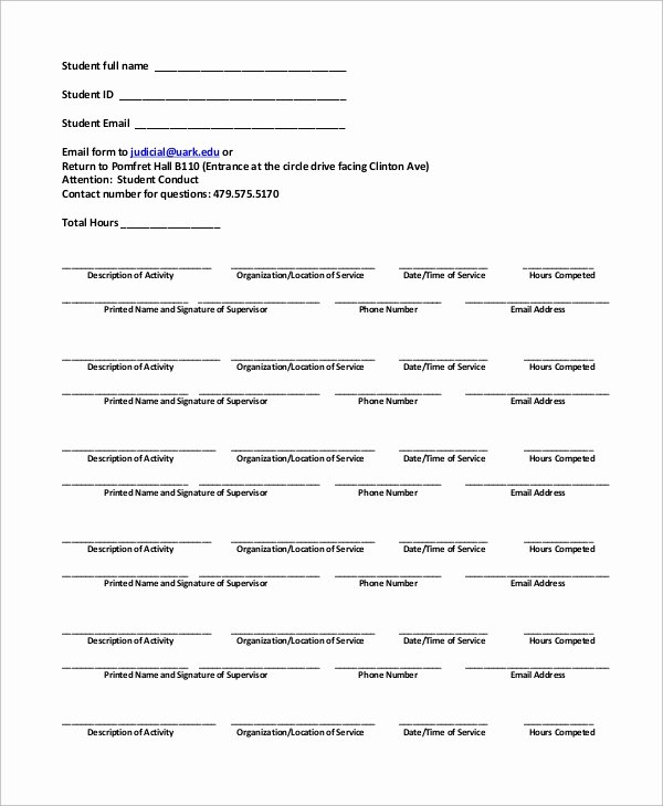 Community Service forms Templates Unique Sample Munity Service form 10 Examples In Pdf Word