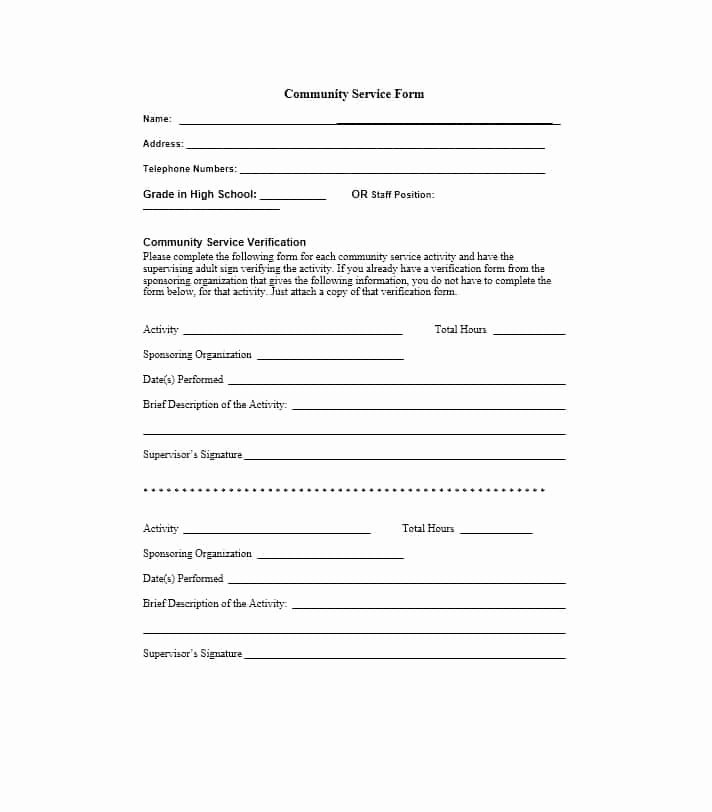 Community Service Letter Template Elegant Generic Munity Service form