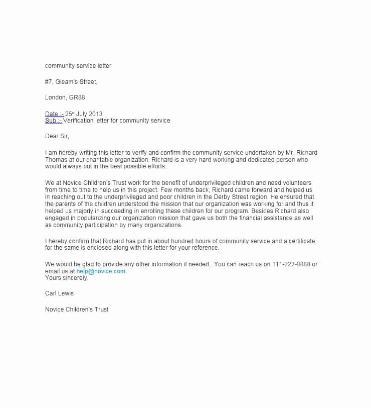 Community Service Letter Template Fresh Munity Service Letter 40 Templates [ Pletion