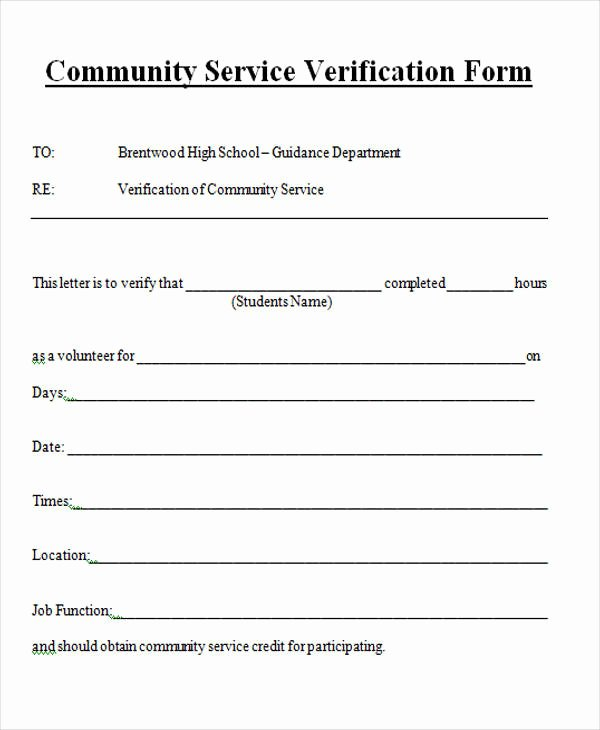 Community Service Letter Template Unique Service form In Word