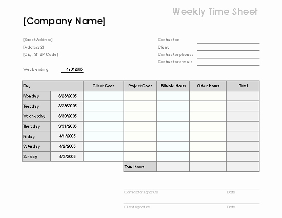 Community Service Timesheet Template Elegant Weekly Time Sheet by Client and Project