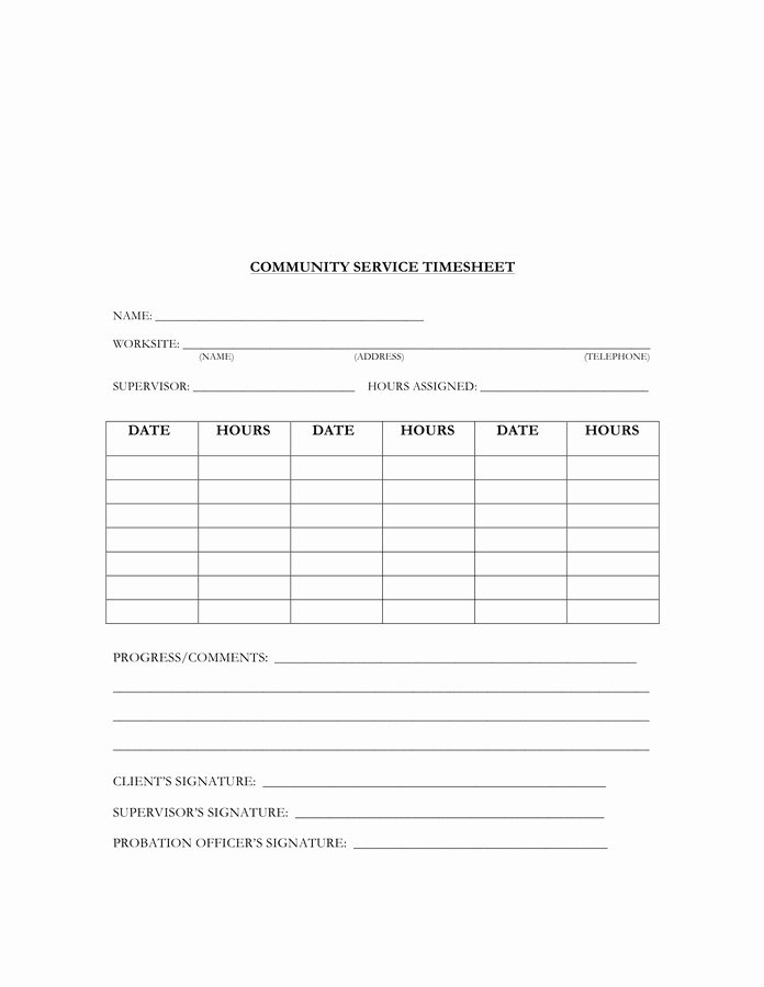 Community Service Timesheet Template New Munity Service Timesheet Template In Word and Pdf formats