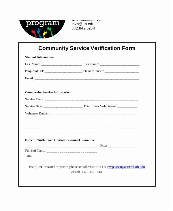 Community Service Verification form Template Best Of Free 35 Service form In Templates