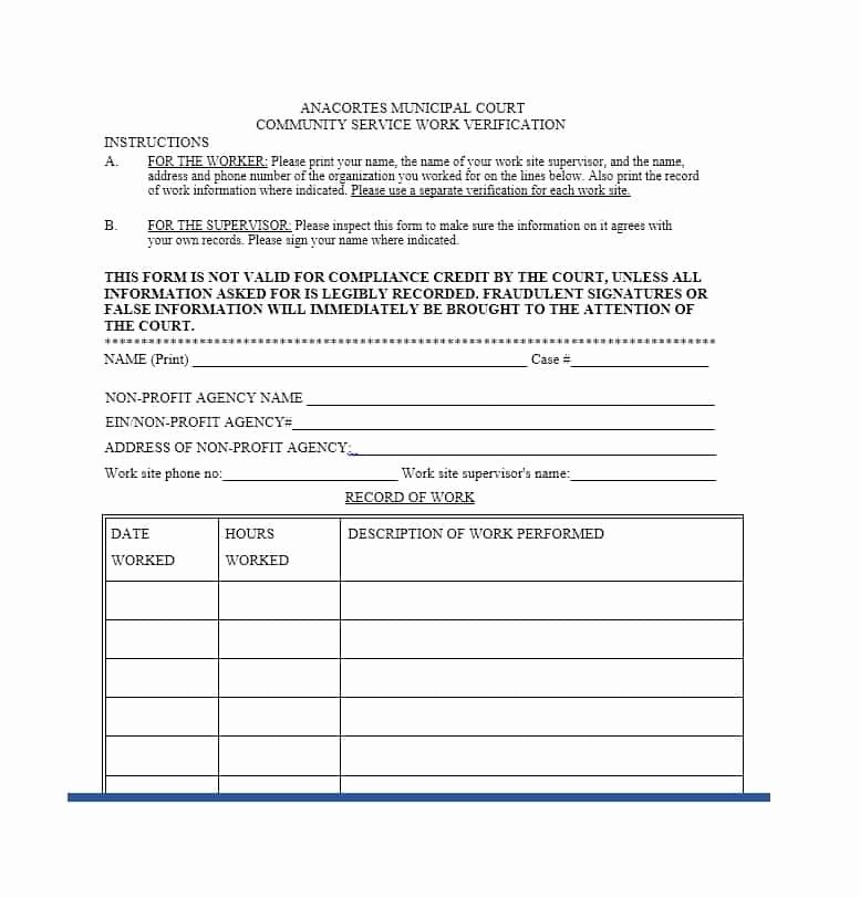 Community Service Verification form Template Best Of Generic Munity Service form