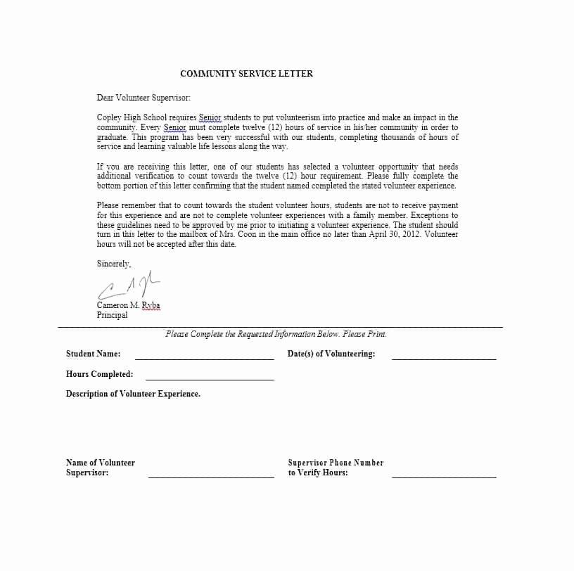 Community Service Verification form Template Best Of Munity Service Letters