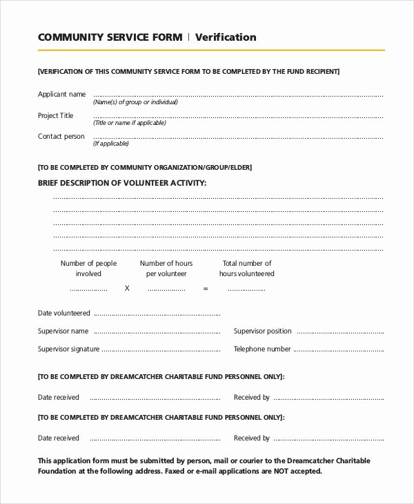Community Service Verification form Template Best Of Sample Munity Service form 10 Examples In Pdf Word