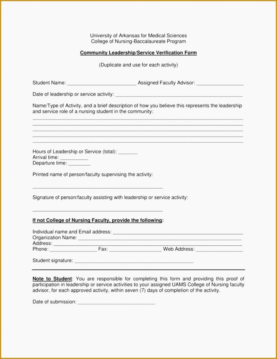 Community Service Verification form Template Fresh Munity Service