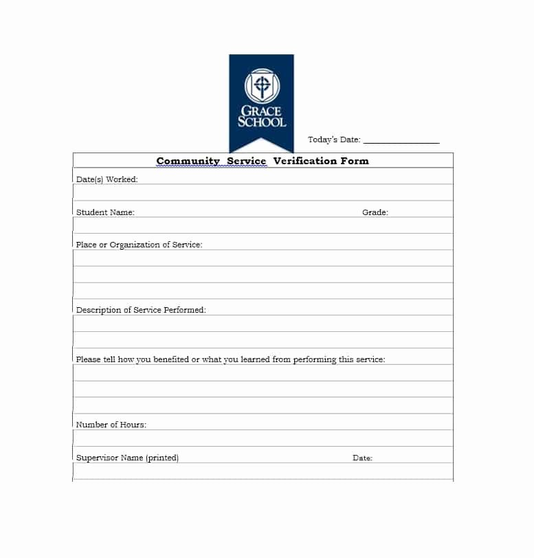 Community Service Verification form Template Inspirational Munity Service Letter 40 Templates [ Pletion