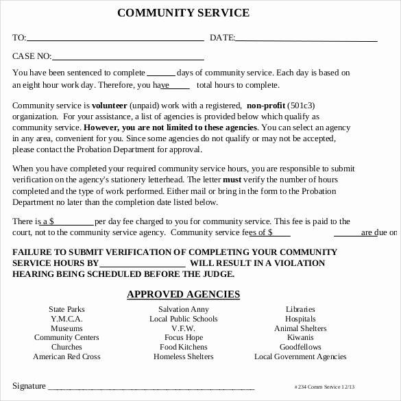 Community Service Verification form Template Inspirational Sample Munity Service Letter 25 Download Free
