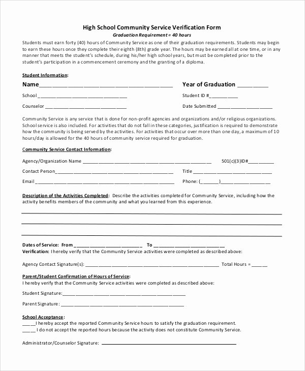 Community Service Verification form Template Lovely Sample Munity Service form 10 Examples In Pdf Word