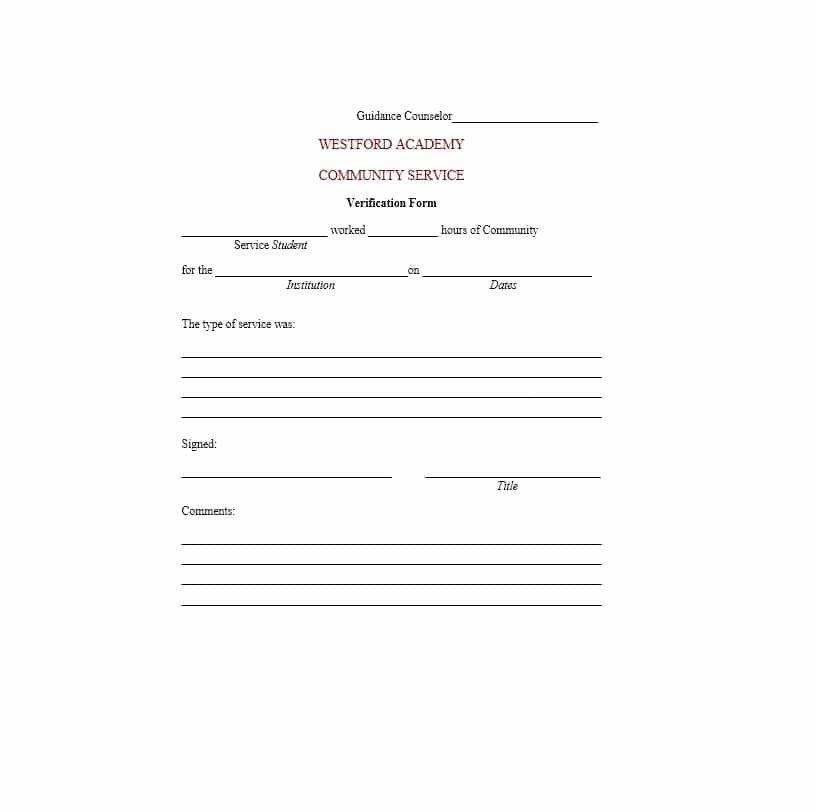 Community Service Verification form Template New Munity Service Letter 40 Templates [ Pletion
