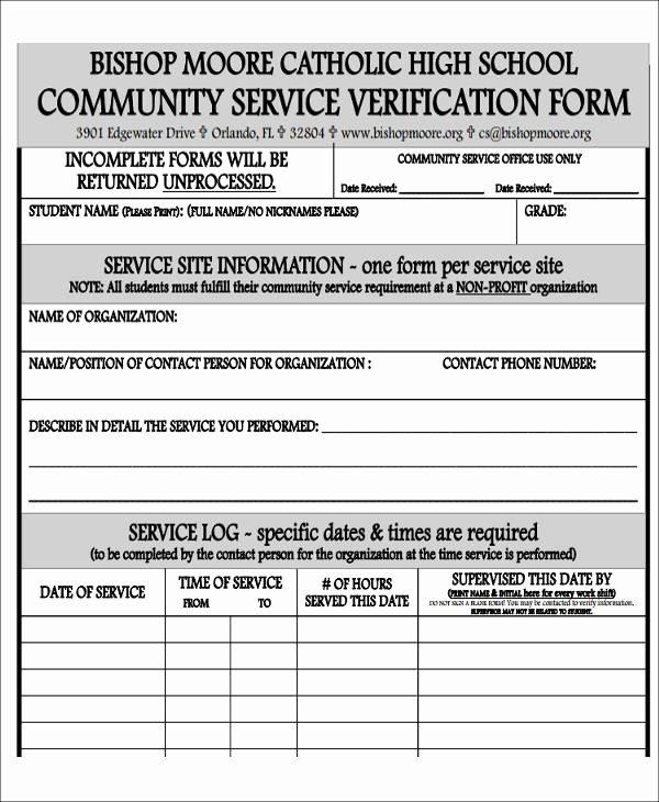 Community Service Verification form Template Unique 39 Service forms In Pdf