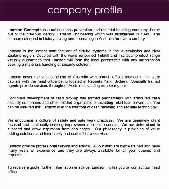 Company Profile Template Word Fresh Pany Profile Samples
