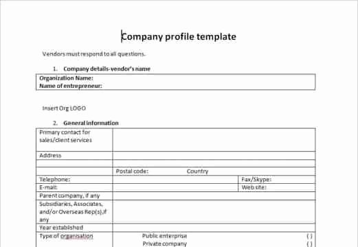 Company Profile Template Word Inspirational Pany Profile Templates Word Excel Samples