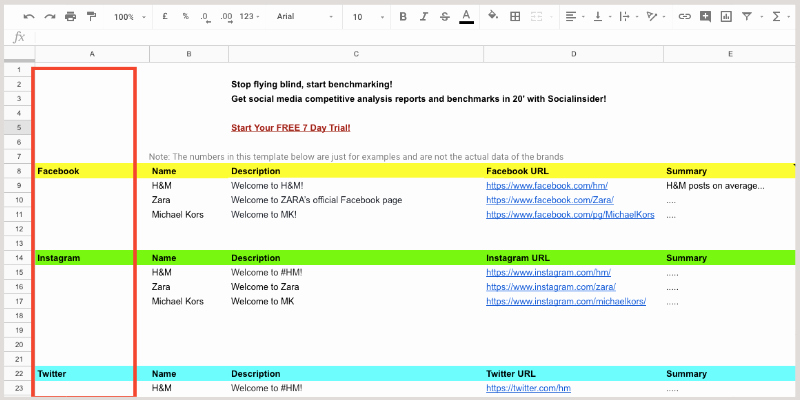 Competitor Analysis Template Excel Beautiful social Media Petitive Analysis Playbook Free Template
