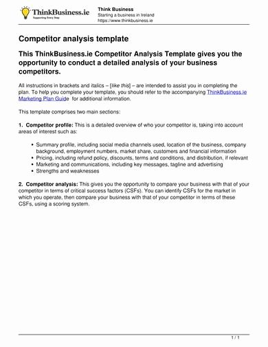 Competitor Analysis Template Excel Inspirational 9 Petitive Analysis Templates Pdf Word Excel