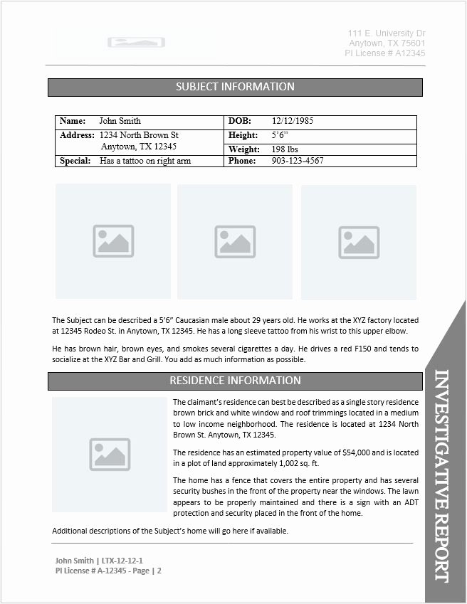 Computer forensic Report Template Awesome Private Investigator Report Template Document Downloads