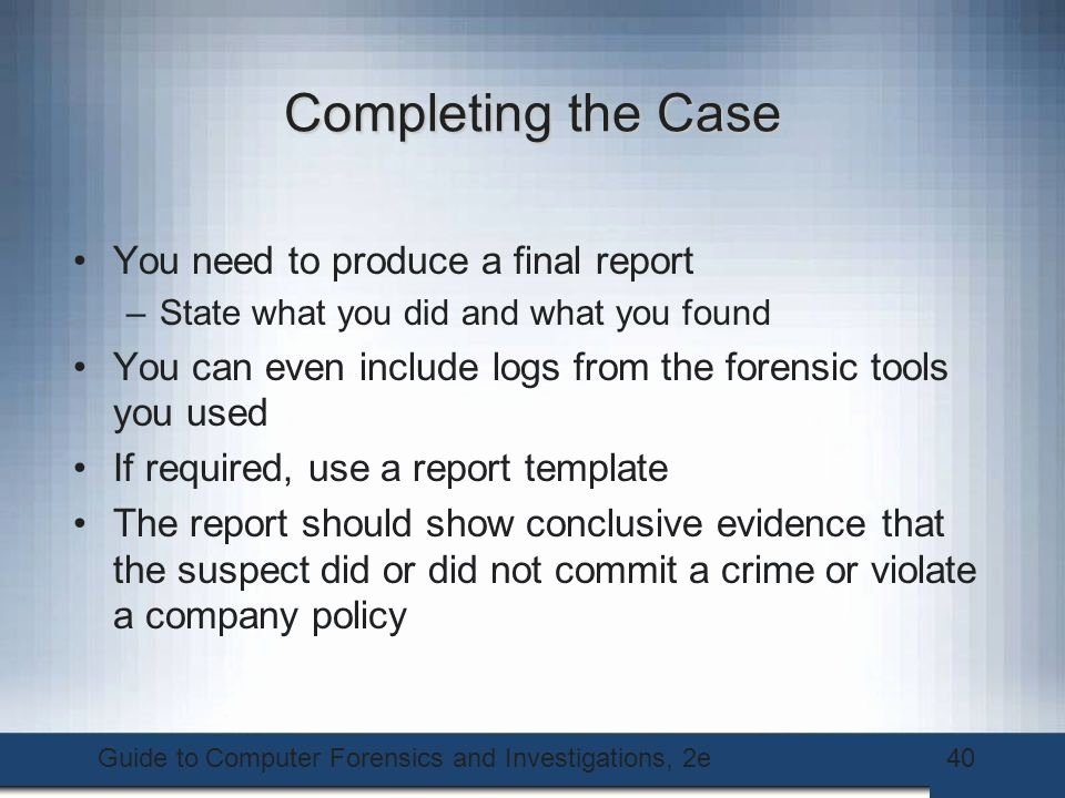 Computer forensic Report Template Lovely Guide to Puter forensics and Investigations Second