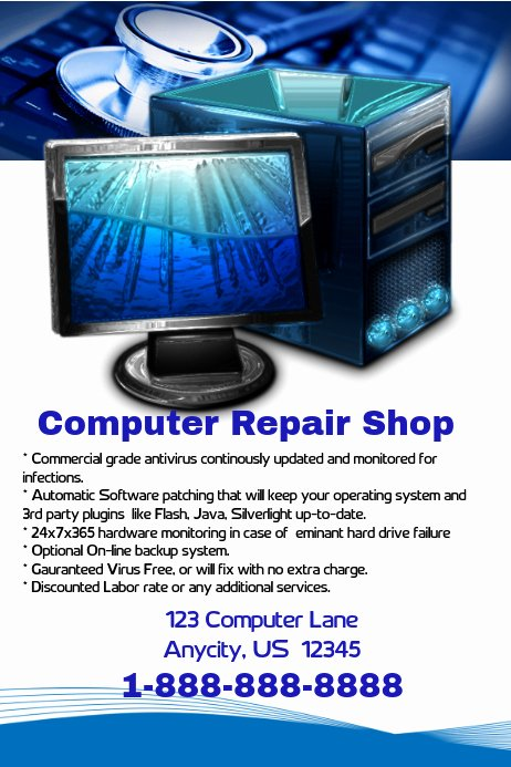 Computer Repair Flyer Template Fresh Puter Repair Shop Flyer Template