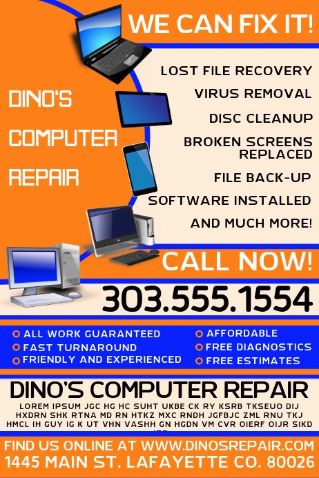 Computer Repair Flyer Template New Puter Repair