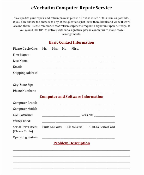 Computer Repair form Template Elegant Free 35 Service form In Templates