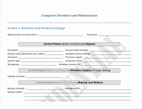 Computer Repair form Template Elegant Puter Inventory and Maintenance form