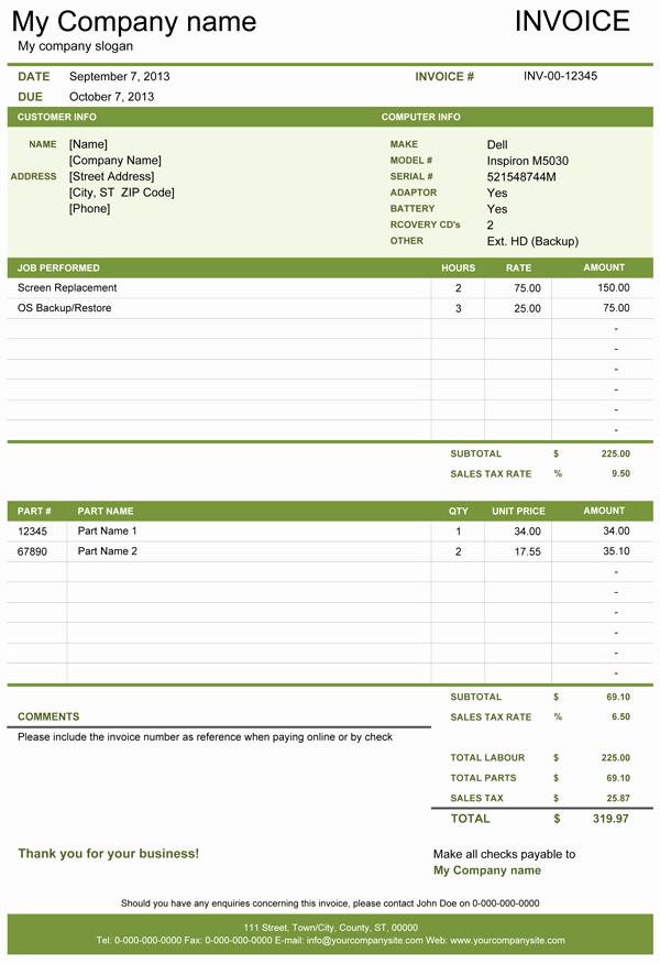 Computer Repair form Template Elegant Puter Repair Invoice