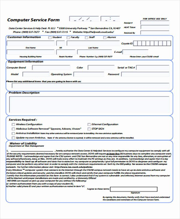 Computer Repair form Template Lovely 39 Free Receipt forms