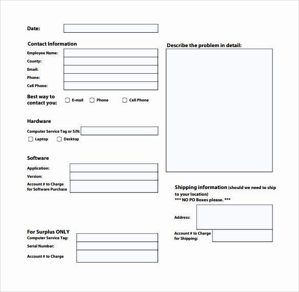 Computer Repair form Template Luxury Sample Puter Service Request form 12 Download Free