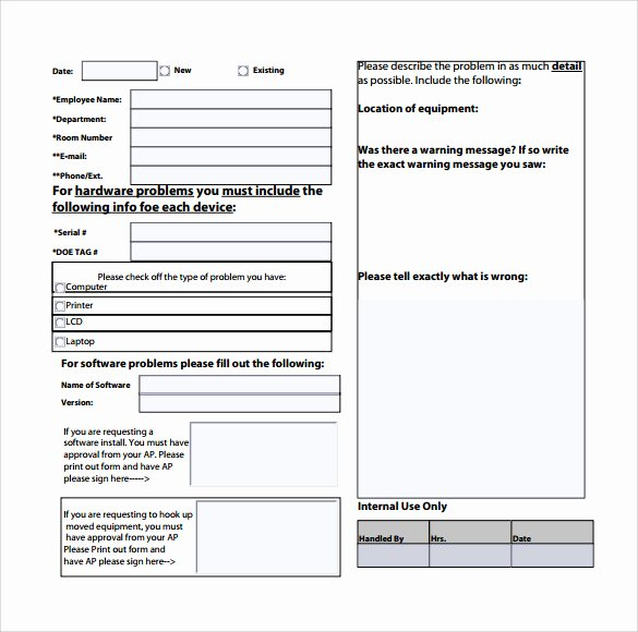 Computer Repair form Template New Sample Puter Service Request form 12 Download Free