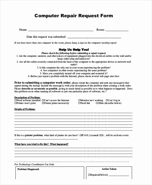Computer Repair form Template New Sample Repair Request form 12 Examples In Word Pdf