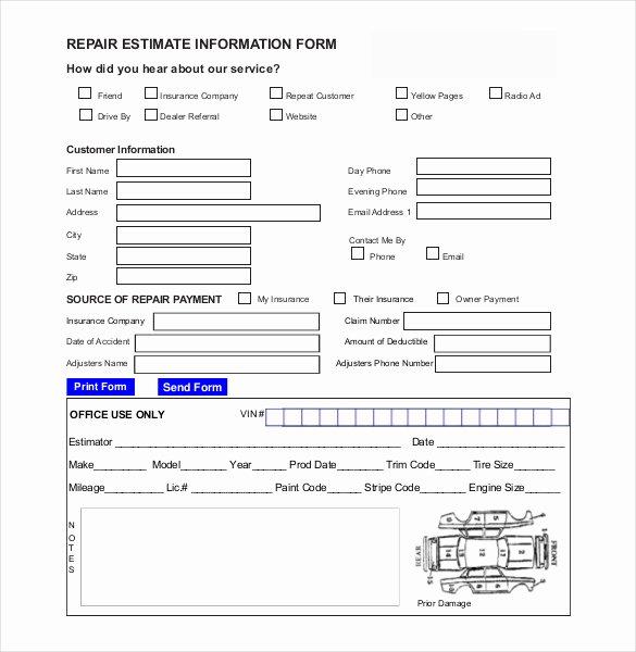 Computer Repair form Template Unique Auto Repair Estimate Template Excel