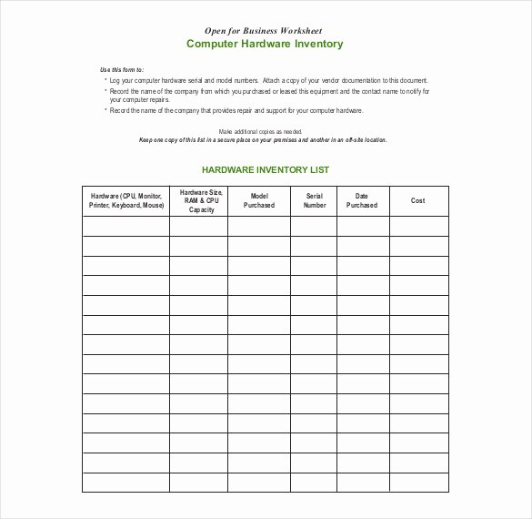 Computer Repair forms Template Luxury 20 Inventory form Templates – Free Sample Example