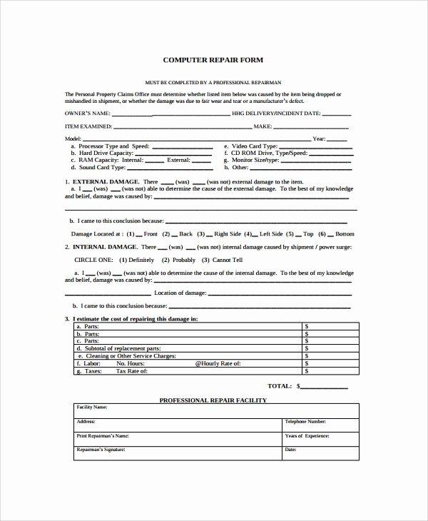 Computer Repair forms Template Luxury Sample Repair form 8 Documents In Pdf Word