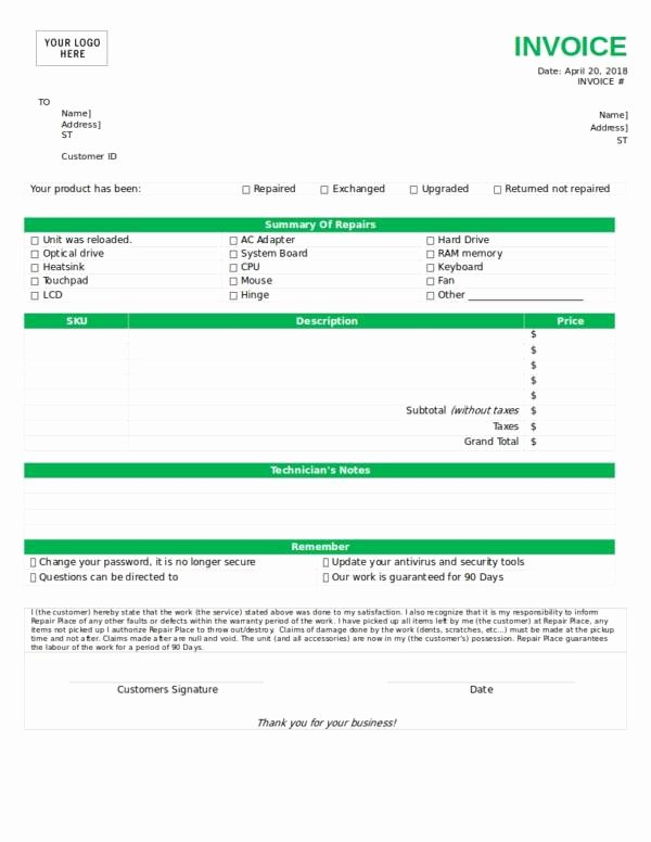 Computer Repair forms Template New 10 Equipment Invoice Samples & Templates Pdf Word Excel