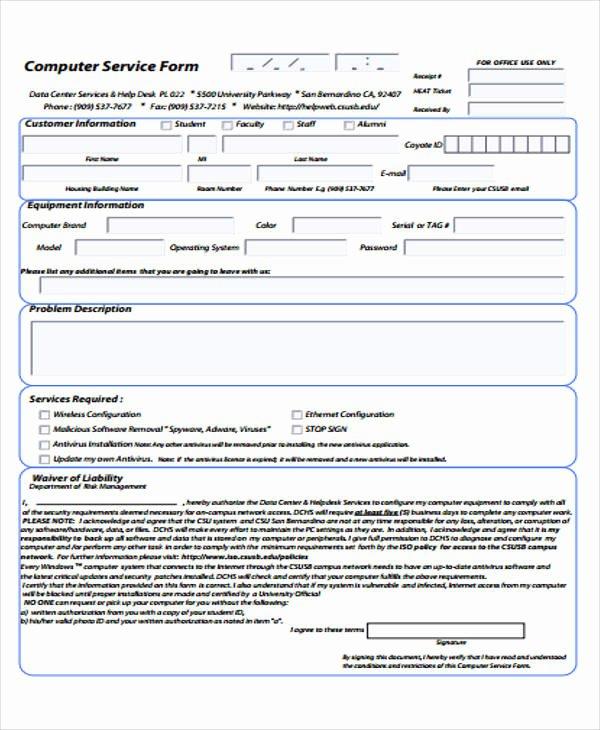 Computer Repair forms Template Unique 39 Free Receipt forms