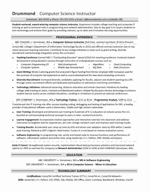 Computer Science Resume Templates Beautiful Puter Science Resume Sample