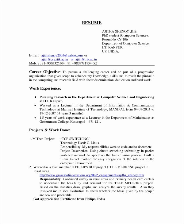 Computer Science Resume Templates Inspirational Resume Template Puter Science Graduate Puter