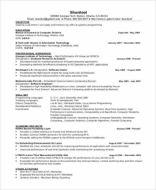 Computer Science Resume Templates Inspirational Sample Puter Science Resume 8 Examples In Word Pdf